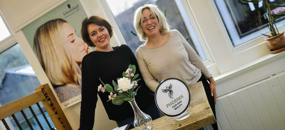 """Amanda and Paula from Phoenix Hair and Beauty have featured as the Shop Chester-le-Street """"cover stars"""" on social media. Photograph by Graham Soult"""