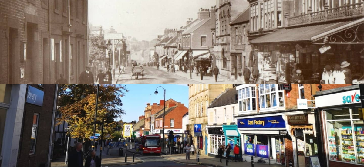 An early 1900s view of Chester-le-Street Front Street compared to one from 2019