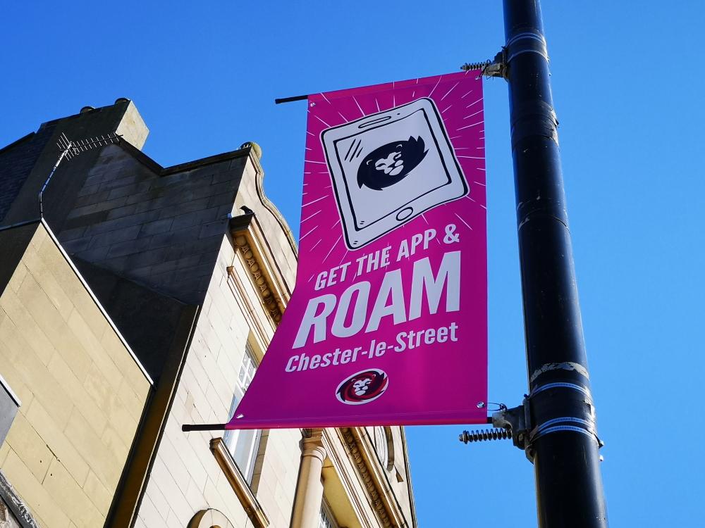 Roam banner in Chester-le-Street Front Street